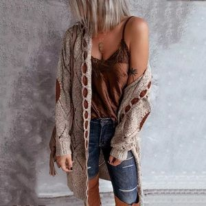 Vintage Sands Hooded Knit Patchwork Cardi Sweater